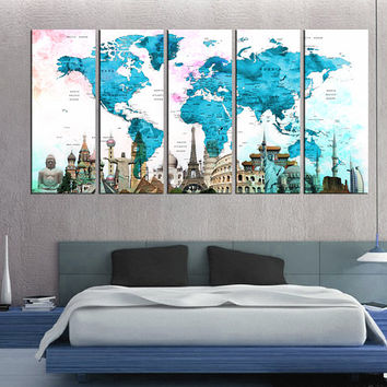 Push pin world map wall art, large world map canvas art, travel map print, large size 5 panel, map poster home office decor gift  Qn54