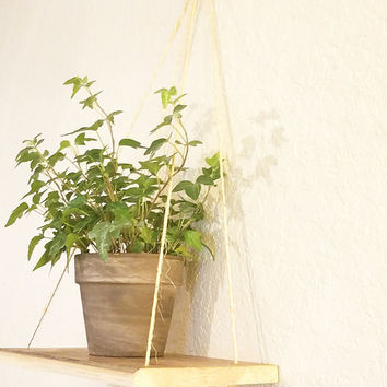 Hanging Shelf, Plant Hanger, Rustic Wood Shelf, Handcrafted, Easy To Hang, 6 x 14 Wood With Twine, Versatile, Swing Shelf,  Plant Shelf