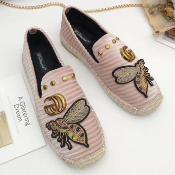 GUCCI Bee Slip-On Women Fashion Flats Shoes