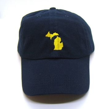 Michigan Hat - Classic Dad Hat - Gold on Navy Blue - All States Available