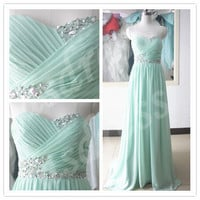 Tiffany Blue Prom Bridesmaid Dress Sweetheart Homecoming Evening Dress Ball Gown Party Dress beaded Long Chiffon bridesmaid dress
