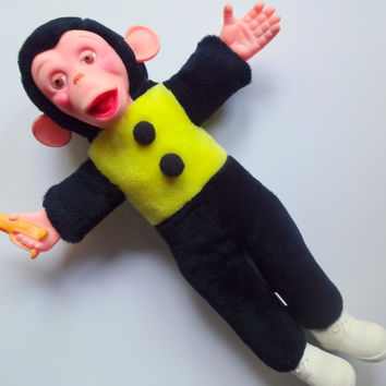Vintage Mr. Bim Stuffed Toy Monkey With Banana 1950s