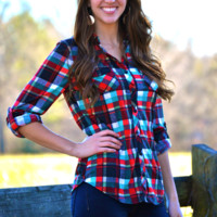 Georgia Plaid Top (Red/Green)