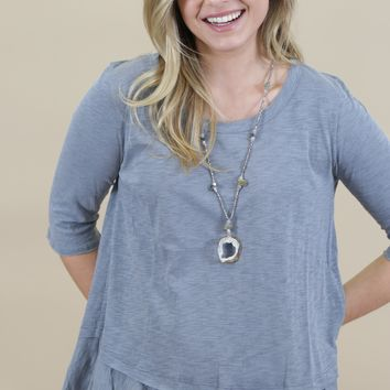 Fly Right 3/4 Sleeve Top, Ash Blue