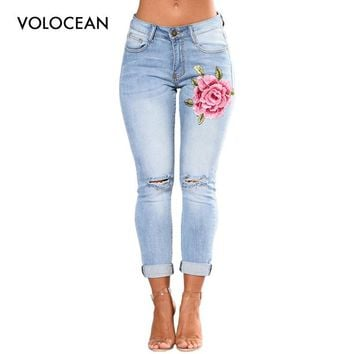 VOLOCEAN Ripped Jeans For Women 2017 Women Jeans Pencil Pants Female Denim Jeans with Embroidery Plus Size High Waist jean Femme