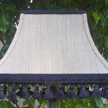 Black Lampshade Black/Cream Micro Stripes Rectangle Bell Frame Handmade Trim Braided Trim Black Fringe Black Grosgrain Ribbon  Washer Top