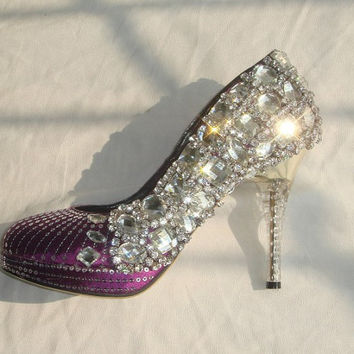 Make to order hand sew princess crystal shoes wedding shoes grace purple