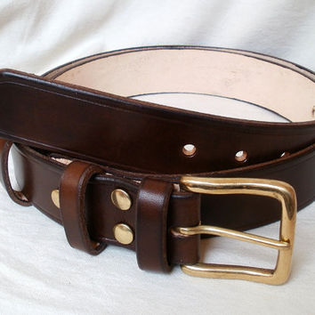 "Men leather belt, 1.5"" wide, brown, solid brass buckle, 2 fixed keepers, womens leather belt, brown leather belt"