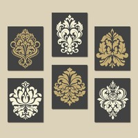 DAMASK Wall Art, CANVAS or Prints Gray Gold Bedroom Wall Decor, Bathroom Decor, Swirl Scroll Design, Kitchen Decor Set of 6 Home Decor