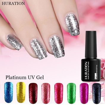 Huration Gel Lacquer 12 Color Set LED UV Gel Platinum Glitter Nail Polish Art Semi Permanent Colorful Gel Nail Polish Vernis