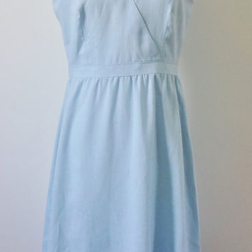Vintage 1980s Linen Blend Powder Blue Sheath Dress - Size Medium