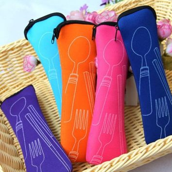 Tableware not including Portable Stainless Steel Tableware Camping Bag Picnic Juegos De Vajillas Lunch Box Lancheira Fork Spoon