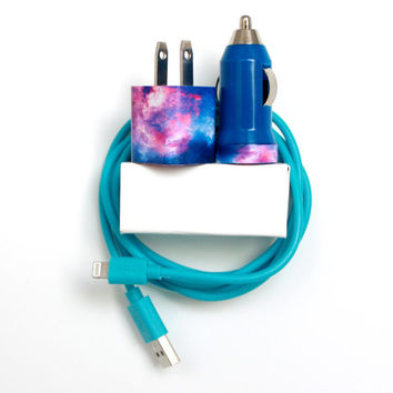 Blue Galaxy iPhone Charger | Phone Accessory | cord | cable | portable charger mobile car charger | for iPhone 6 | 6s | iPhone 5 | 5s | 5c