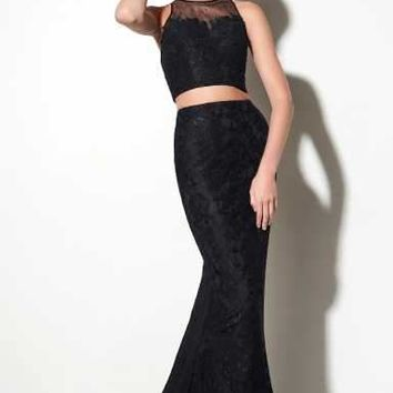 Studio 17 - 12606 Two-Piece Jewel Illusion Lace Trumpet Gown