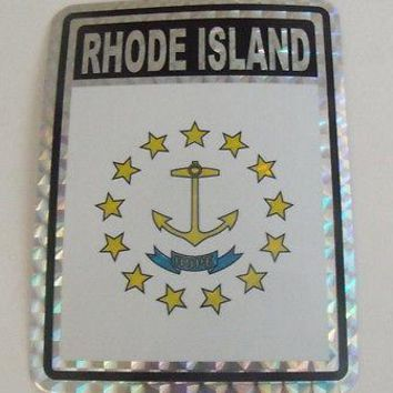 "Rhode Island Flag Reflective Sticker 3""x4"" Inches Adhesive Car Bumper Decal"