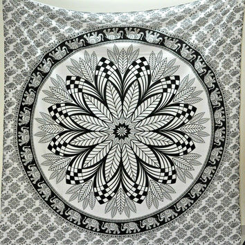 Black & White Elephant Boho Bohemian Bedspread Beach Blanket Wall Tapestry