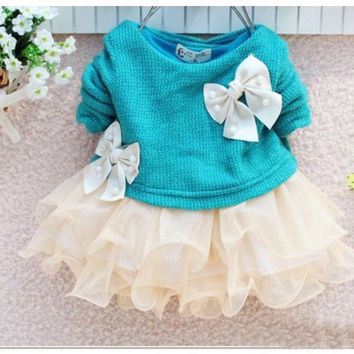 new fashion knitting baby girl lace flower princess dress