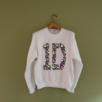 1D One Direction Flowers Background Pattern on a White UNISEX Crew Neck Sweater Sweatshirt