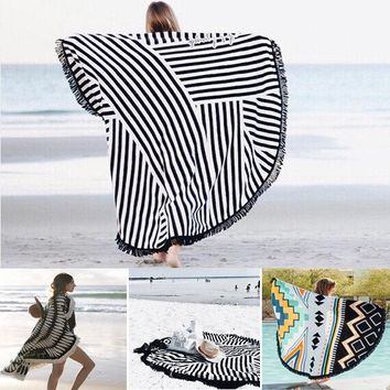 150x150cm Bohemian Style Thin Tassel Beach Towel Round Silk Scarf Bed Sheet Tapestry