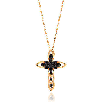 .925 Sterling Silver Gold Plated Black Marquise Filigree Cross Cubic Zirconia Necklace 18 Inches