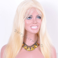 Straight Brazilian Remy Virgin Hair Full Lace Wig Blonde #613 Glue-Less/Glue Cap