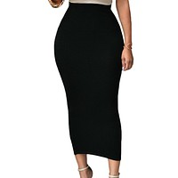 Solid Black High-waisted Bodycon Maxi Skirt