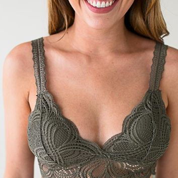 Happy Place Padded Lace Bralette - Herb