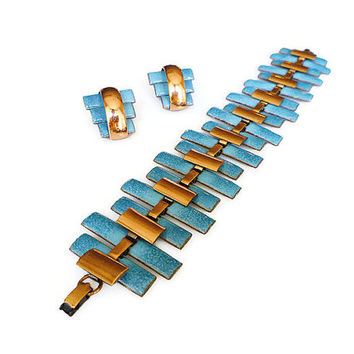 Matisse Bracelet Earrings Copper Aqua Blue Enamel Peter Pan Modernist Vintage Jewelry