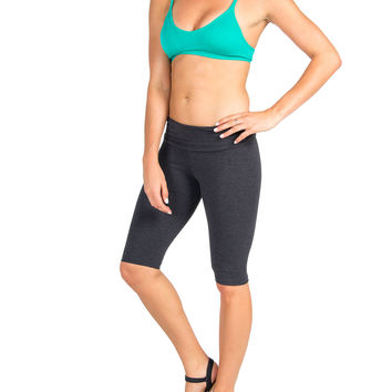 Above The Knee Yoga Pants - Charcoal