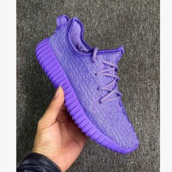 "Fashion ""Adidas"" Yeezy Boost Solid color Leisure Sports shoes Purple T"