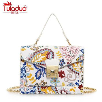 Fashion Floral Printing Women Handbags National Vintage Women Crossbody Bags Women Tote Bags PU Leather Ladies Messenger Bags