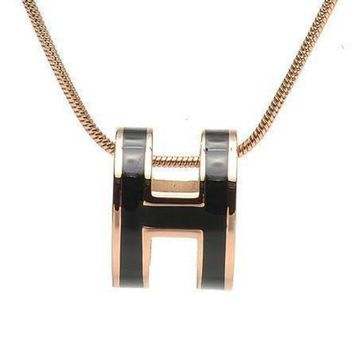 CREYUP0 Hermes Woman Fashion Logo Plated Necklace For Best Gift-3