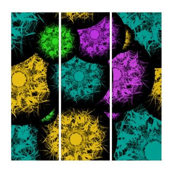 Abstract Neon Bubbles Triptych