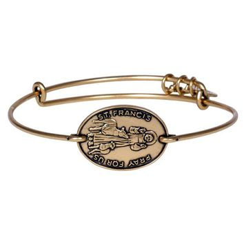 Alex and Ani Saint Francis Horizontal Charm Bangle - Russian Gold