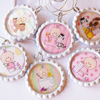Baby Shower, Wine Glass Charms, Wine Charms, Bottlecap wine charm, Baby Girl, Pink, Baby Shower Charms, Shower Favors