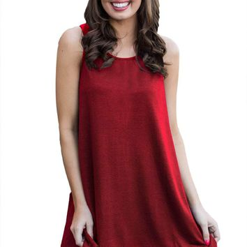 White Lace Hemline Splice Red Mini Tank Dress