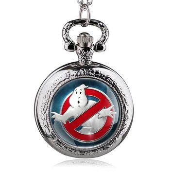 Vintage Ghostbusters Quartz Pocket Watch Steampunk Pendant Men Women Necklace Men Women Gift