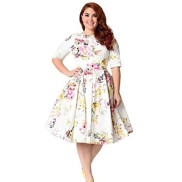 Chicloth White Vintage Style Floral Half Sleeve Swing Dress