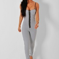 La Verne Monochrome Striped Bodycon Jumpsuit | Pink Boutique