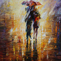 "Together In The Storm  — Oil Painting On Canvas By Leonid Afremov.  30""x36"""
