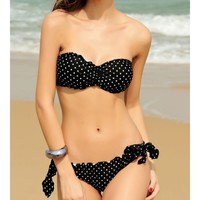 Black Blends Ladies Sexy Sweetheart Strapless New Fashion Style Dot Bowknot Sexy Beach Bikini S/M/L SY40619-42b $0.00 in eFexcity.