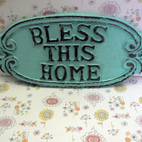 Bless This Home Oval Cast Iron Welcome Greeting Sign Cottage Beach Blue Wall Entryway Door Decor Plaque Shabby Chic Style New House Gift