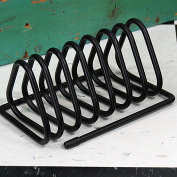Mid Century Modern Metal Spring Coil Triangular Mail Holder . Vintage Black Desk Accessory Letter Organizer