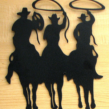 Large Metal Cut Out - 3 Cowboy Silhouette