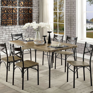 Furniture of america CM3279T-60-7PK 7 pc banbury industrial style weathered finish wood dark bronze bistro table and chairs