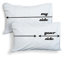 Set Of Two 'My Side Your Side' Pillowcases