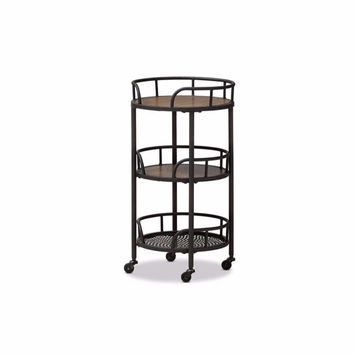 Bristol Rustic Industrial Style Metal and Wood Mobile Serving Cart By Baxton Studio