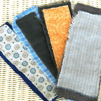 rustic grunge fabric bookmarks handmade men bookworm geek chic linen flannel grey blue rust cream chambray