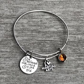 Personalized Martial Arts She Believed She Could So She Did Bracelet