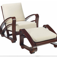 Havana Lounge Chair & Ottoman, Ivory, Chairs with Ottomans/Footstools